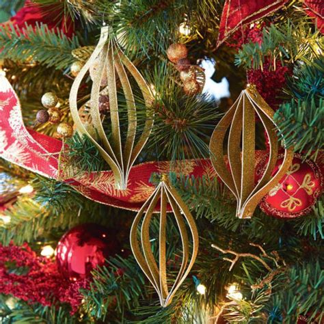 diy gold glitter paper ornaments  store holiday