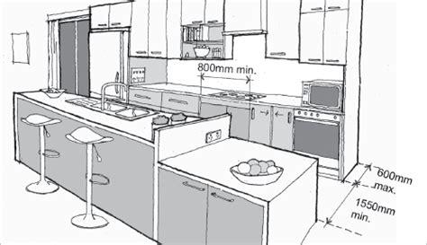 layout of quantity kitchen residential building regular room dimensions and