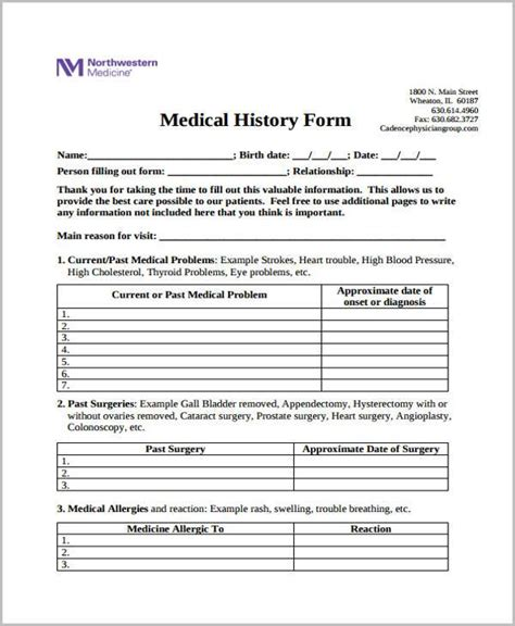 patient history template form templates