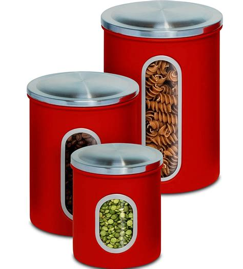 Stainless Kitchen Canisters by Stainless Steel Kitchen Canisters Set Of 3 In Kitchen