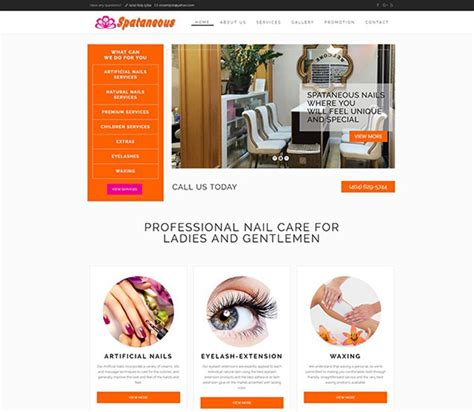 Nail Websites by Spataneous Nails Best Salon Websites Nail Template