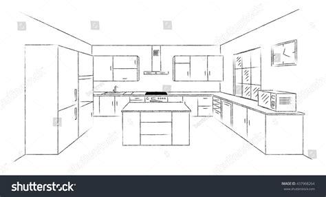 Floor Plan Sketch Free sketch hand drawing kitchen interior plan stock vector