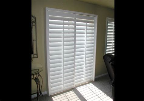 plantation shutters sliding glass door plantation shutter for sliding glass door 3 5 quot louvers yelp