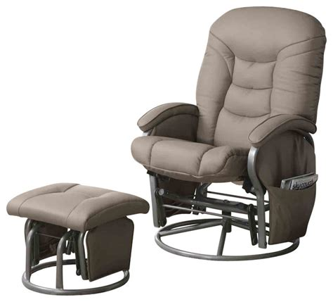 recliner gliders and ottomans casual leatherette glider recliner with matching ottoman