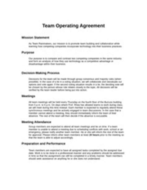 team operating agreement template is 3100 information systems management kennesaw page 1