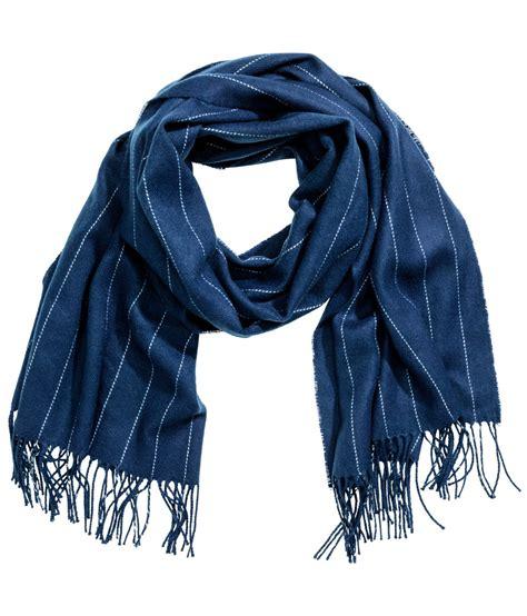 Scarf M lyst h m striped scarf in blue