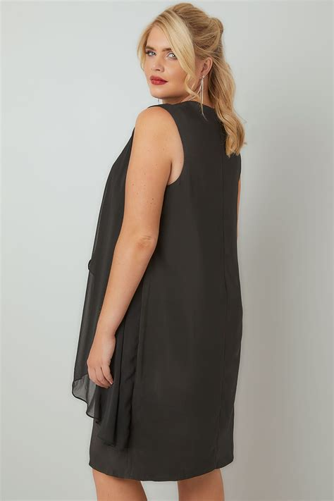 Dress Rumbai Layered Black 081626 black layered front dress with detachable diamante trim plus size 16 to 36