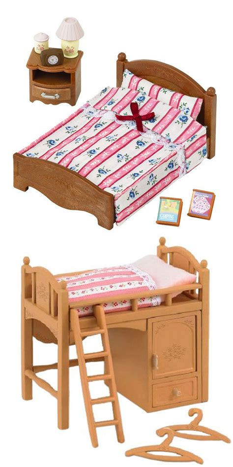 semi double bed 2 sylvanian families 2 beds single bunk bed and semi