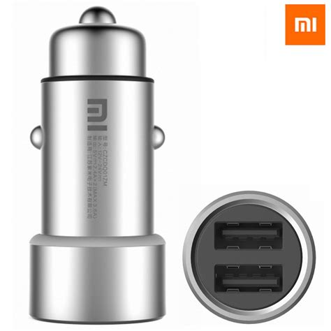 Xiaomi Metal Car Charger Silver xiaomi czcdq01zm car charger dual usb cigarette lighter adapter for iphone samsung lg