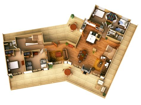 Cabin Blueprints Free by More Bedroom 3d Floor Plans Clipgoo The Modest Modern