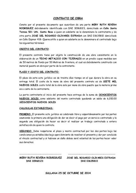 modelo de contrato de trabajo para el servicio domestico modelo de contrato de obra