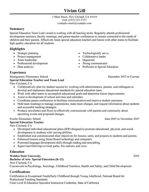 exle resume team leader resume exle
