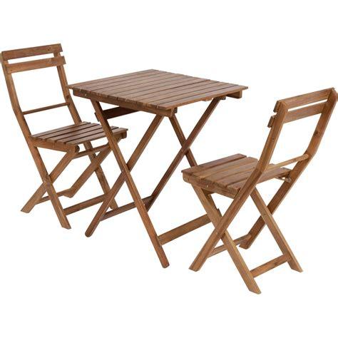 salon de jardin table et chaises salon de jardin acacia bois marron 1 table et 2 chaises