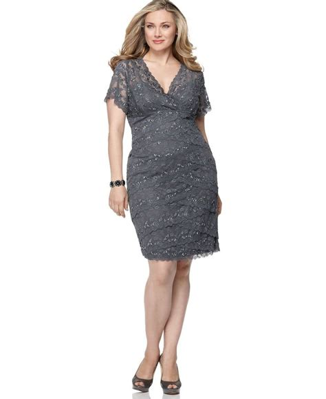 plus size cocktail dress with sleeves marina plus size dress cap sleeve grey lace cocktail