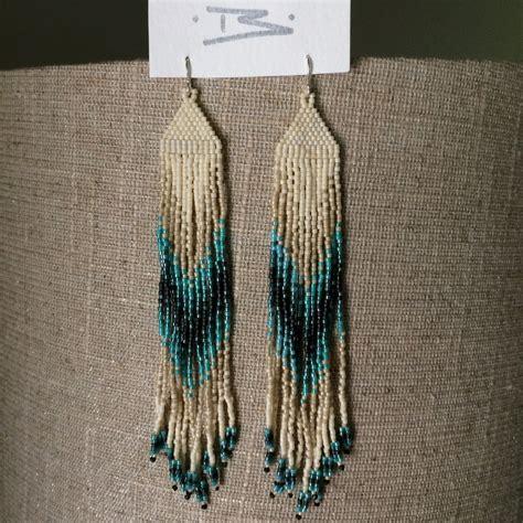 bead fringe turquoise pattern seed bead fringe earrings