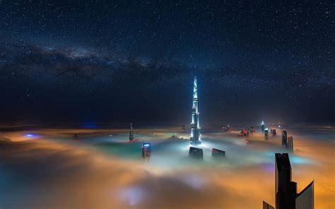 Softlens Sky Dubai Original cityscape way mist skyscraper dubai starry sky wallpaper travel and