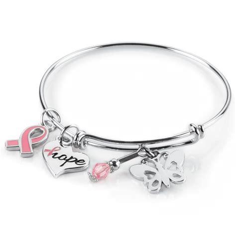 Breast Cancer Awareness Charm Bangle Bracelet