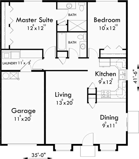 one bedroom floor plans with garage one story duplex house plans 2 bedroom duplex plans