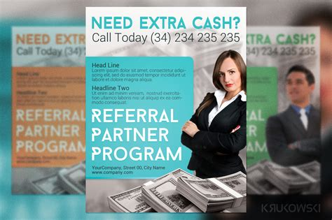Referral Partner Program Flyer Flyer Templates On Creative Market Network Marketing Templates