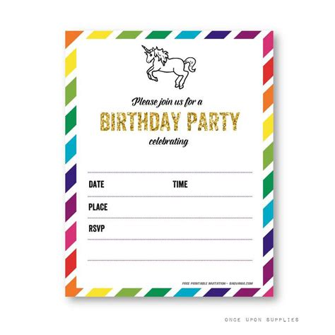 Free Printable Golden Unicorn Birthday Invitation Template Free Invitation Templates Drevio Unicorn Invitations Free Template