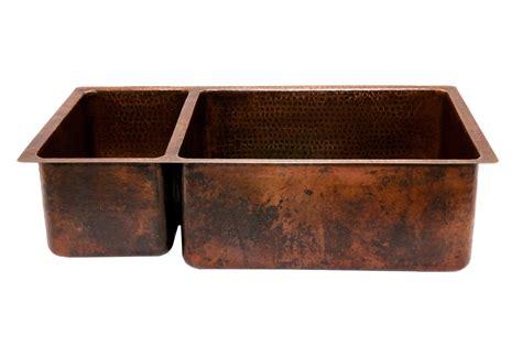 838mm hammered copper kitchen 25 75 basin sink