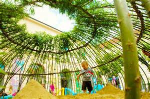 Japanese inspired woven willow kagome sandpit offers natural play for