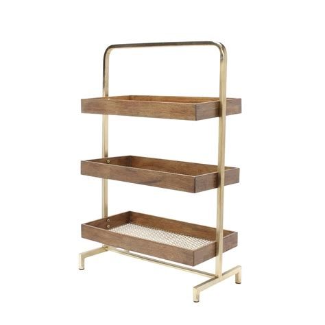 standing l with shelves kate and laurel hanne wood and metal trays free standing shelves traditional free standing