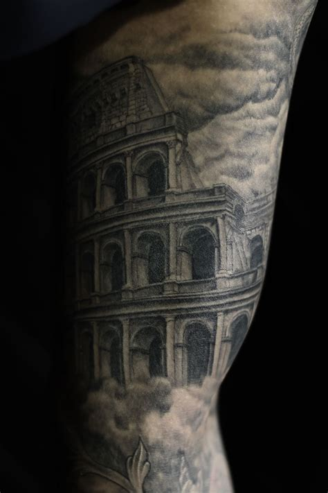 ancient roman tattoos colosseum colosseo inner arm