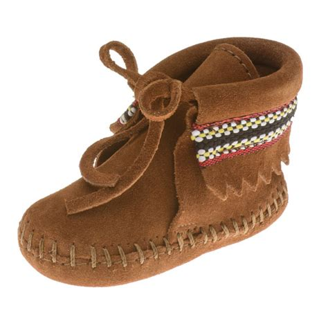 infant moccasins minnetonka moccasins 1102 infants braid on cuff bootie brown suede baby moccasins