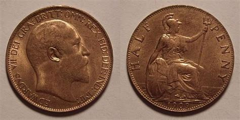 values of british one penny copper coins with queen half penny value
