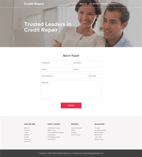 Credit Repair Website Templates landing page designs landing page design templates