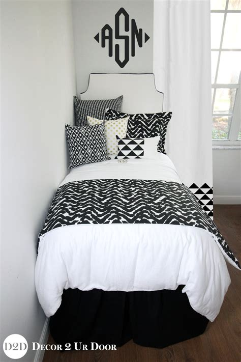 white dorm bedding black white gold marker designer dorm bedding set d