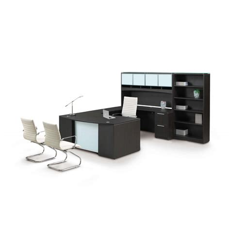Potenza U Shaped Desk With Glass Modesty And Bookcase U Shaped Glass Desk