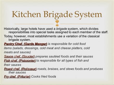 Kitchen Brigade Definition New Kitchen Brigade System Meankitchen