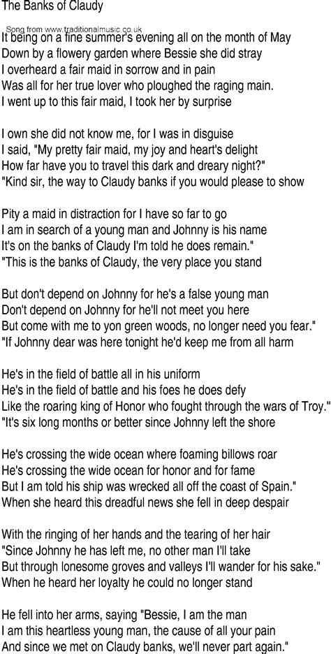 ballad of claudy song and ballad lyrics for banks of claudy