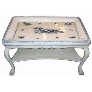 antique swedish blue and white porcelain top table