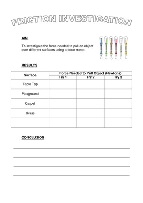 Friction Worksheet by Search Teaching Resources Tes