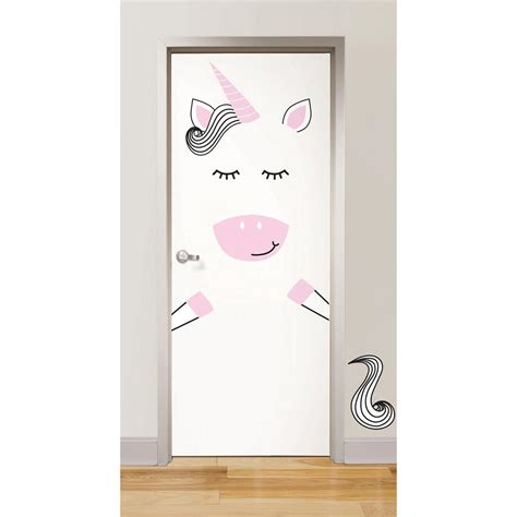 door stickers wallpops pink gigi the unicorn door decal dwpk2500 the