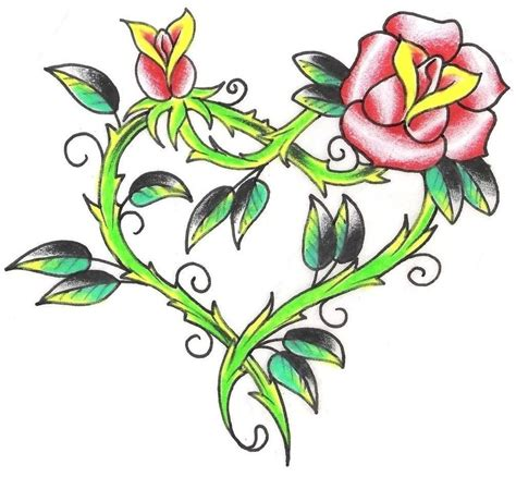 hearts with roses tattoos pink design