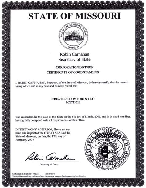 certificate of standing obtain certificate of