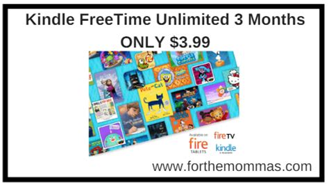 kindle freetime unlimited 3 months only 3 99