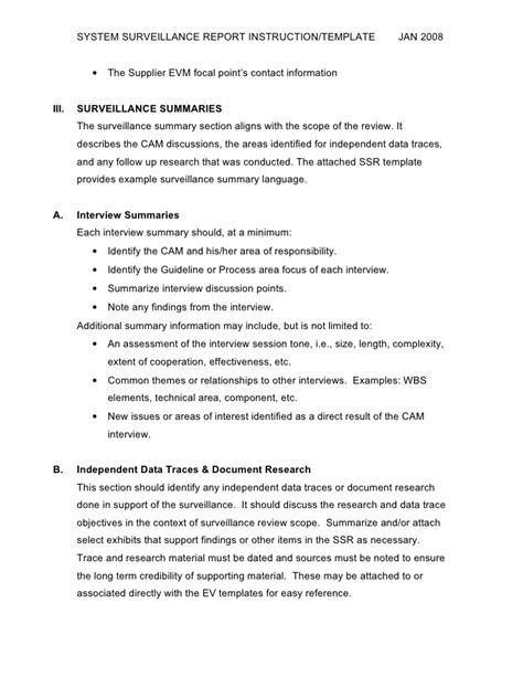 surveillance report template defense contract management agency site location