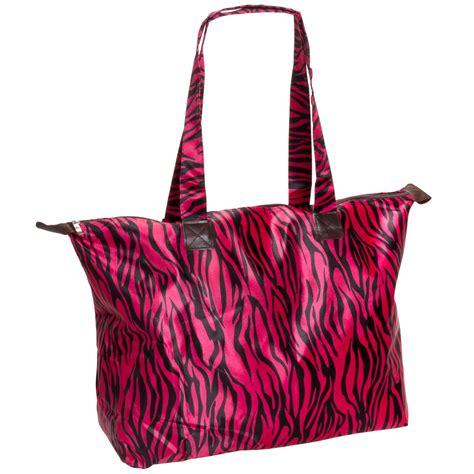 Bag Animal Zebra large pink zebra animal print satin feel travel tote handbag bag new ebay