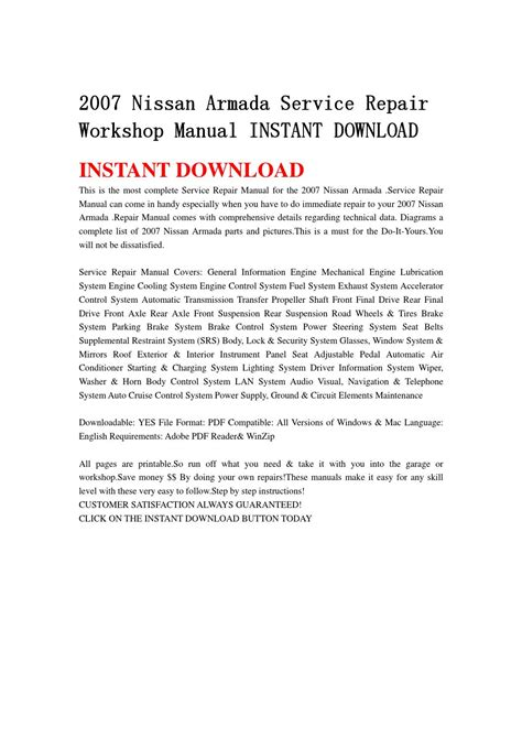 repair voice data communications 2007 nissan armada on board diagnostic system 2007 nissan armada service repair workshop manual instant download by jsehfjsnen issuu