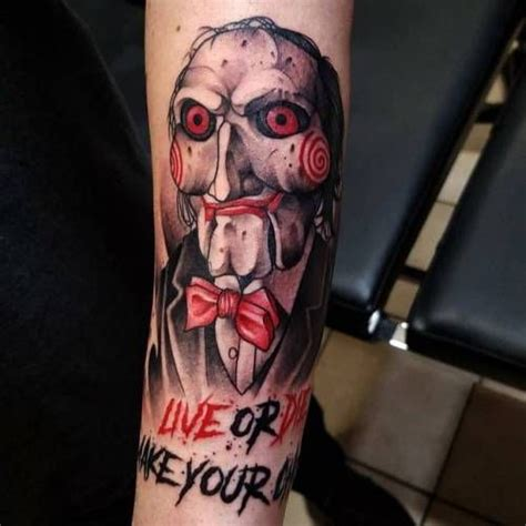 horror movie tattoos designs regranned from grizzlietattoo saw jigsaw horror