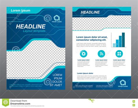 page layout design vector layout flyer template size a4 cover page blue line art