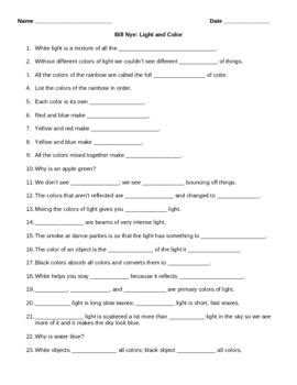 bill nye light and color worksheet guide for bill nye light and