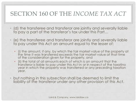section 4 of income tax act section 160 and the power to collect gavin laird ll b