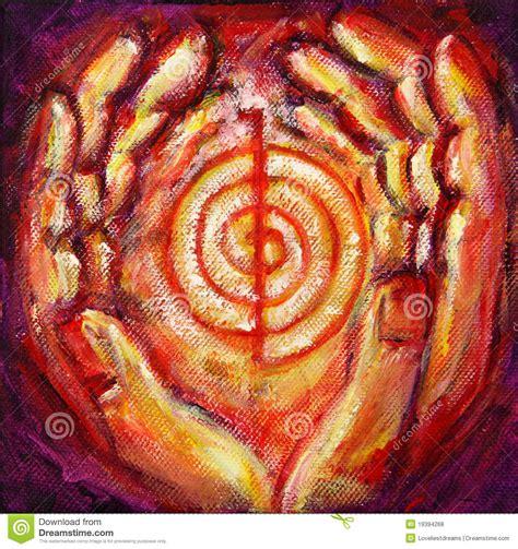 reiki symbol  healing hands stock illustration
