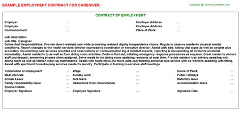caregiver agreement template caregiver employment contracts sles